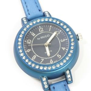 By HUGO watch blue band and metal finish